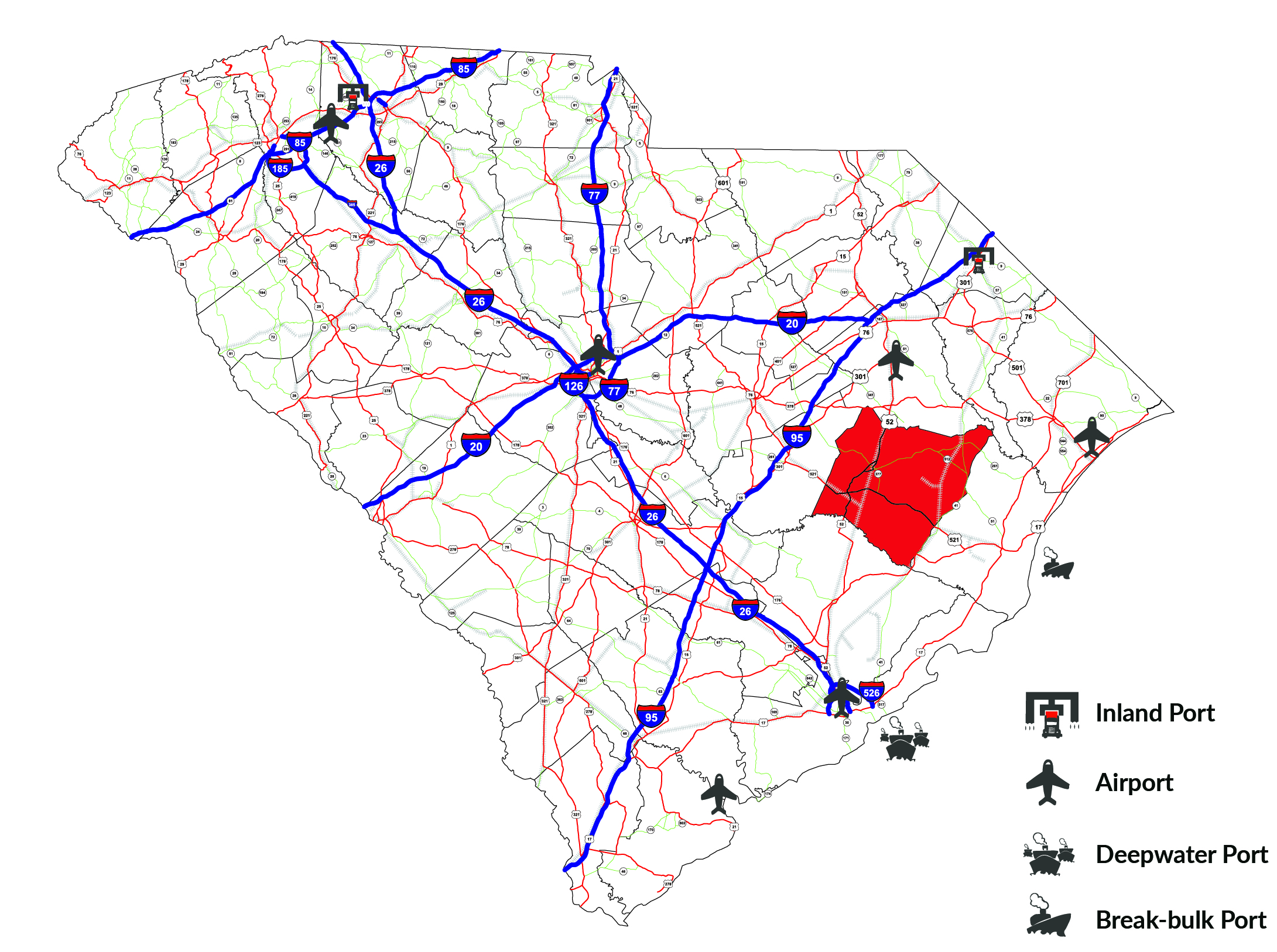 Williamsburg County Highways, Interstates and Rail