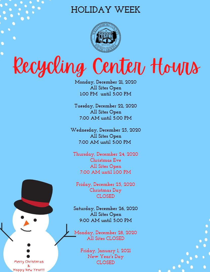 Holiday Closing Recycling Sites
