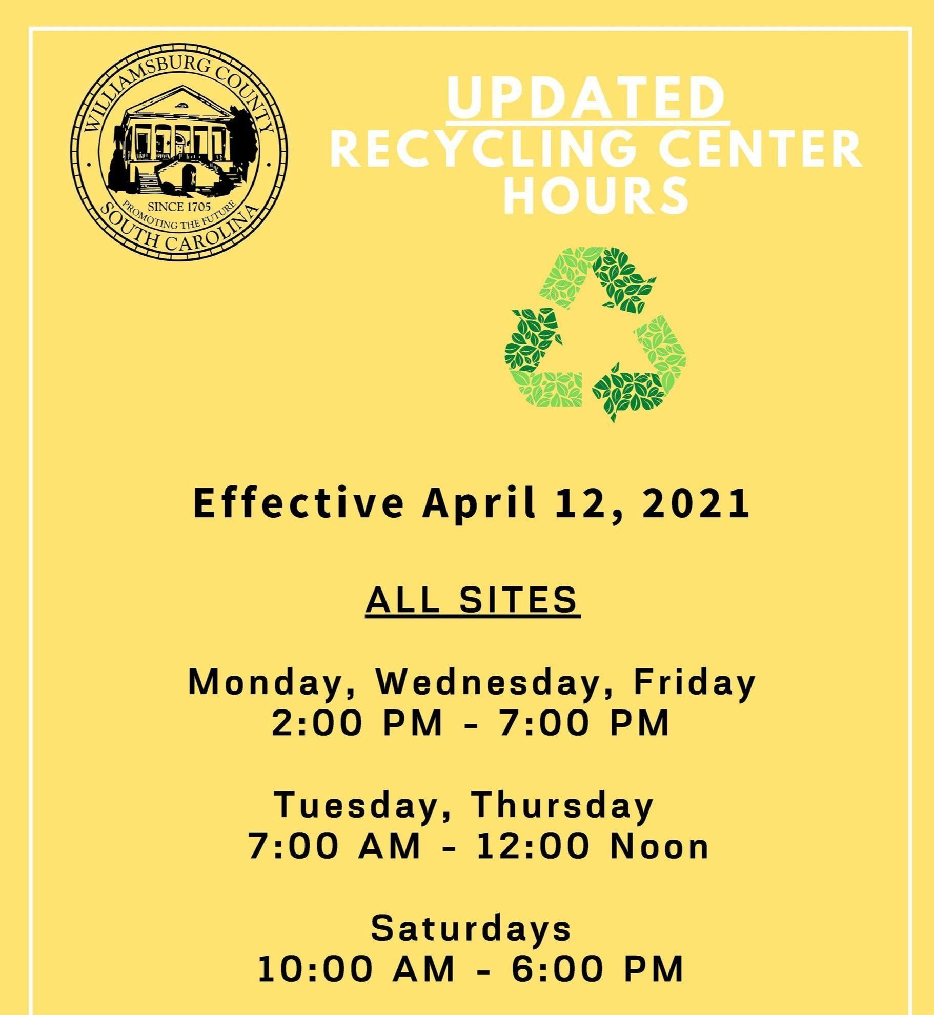 Updated 2021 Recycling Center Hours  4 12 21